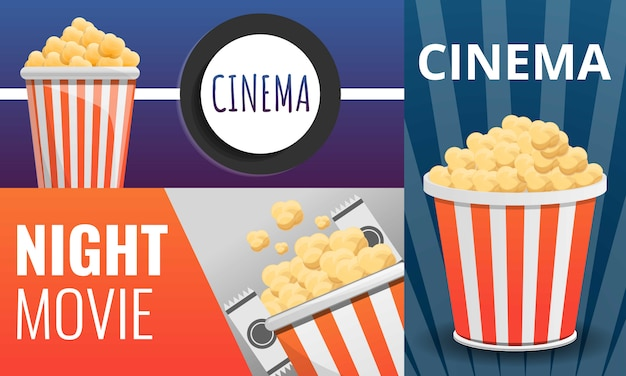 Popcorn cinema set, cartoon stijl Premium Vector