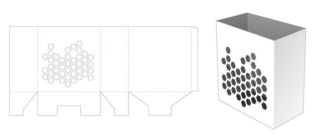 Popcorn container met zeshoeken venster gestanst sjabloon Premium Vector