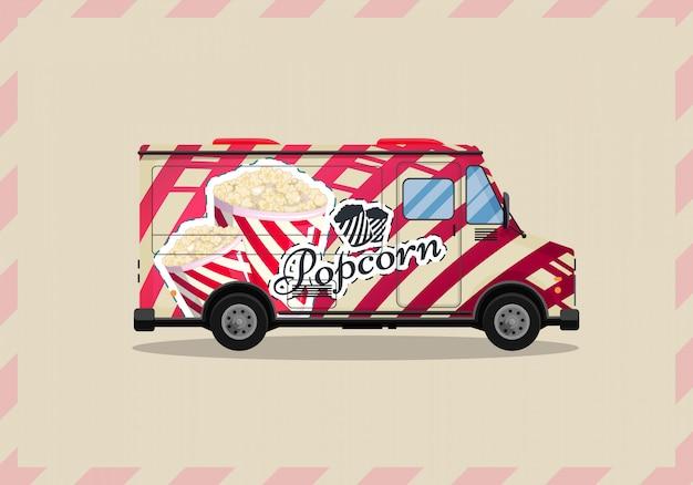 Popcorn kar, kiosk op wielen, retailers, snoep en zoetwaren producten vlakke stijl geïsoleerde illustratie. snacks voor uw projecten. Premium Vector