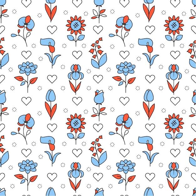 Populaire bruiloft bloemen iconen vierkant Gratis Vector