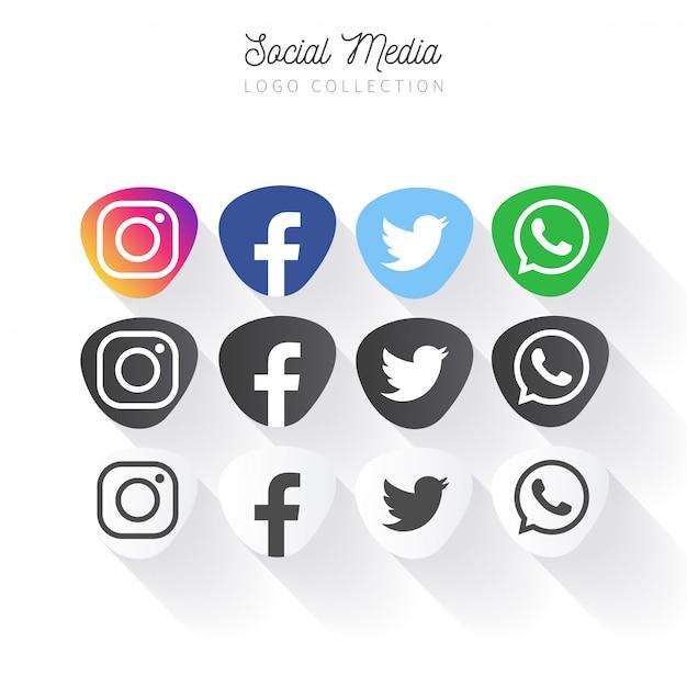 Populaire social media-bannercollectie Gratis Vector