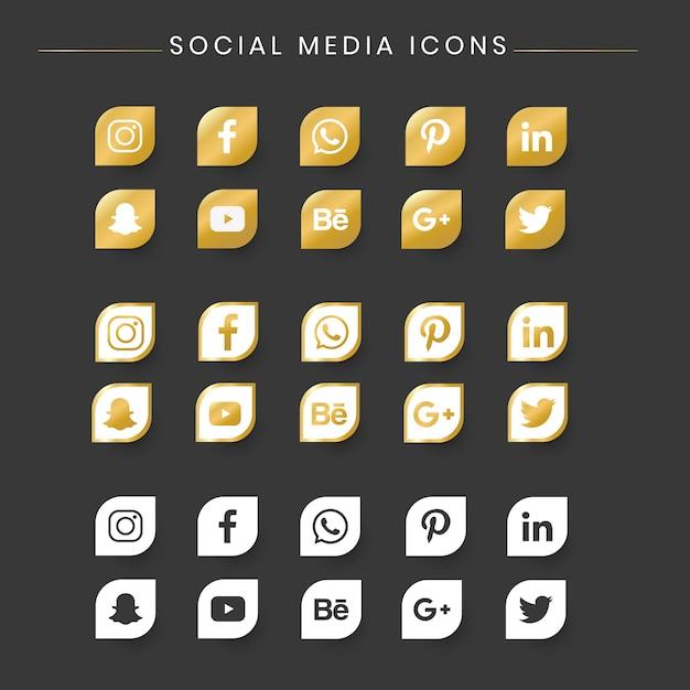 Populaire sociale media icon set Premium Vector