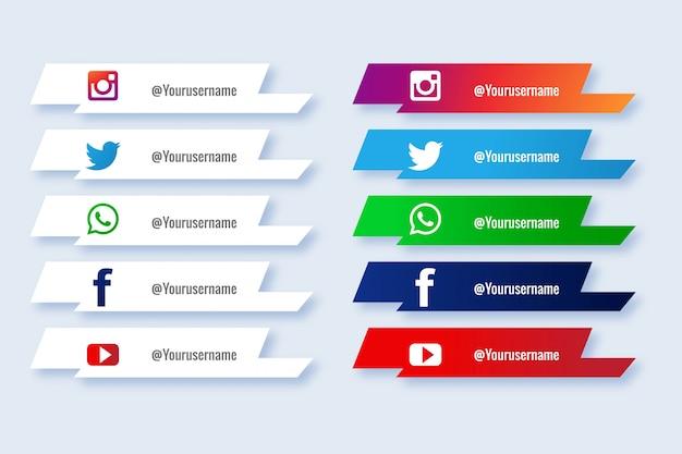 Populaire sociale media lagere derde pictogram creatieve set Gratis Vector