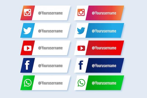 Populaire verzameling social media lagere derde Gratis Vector