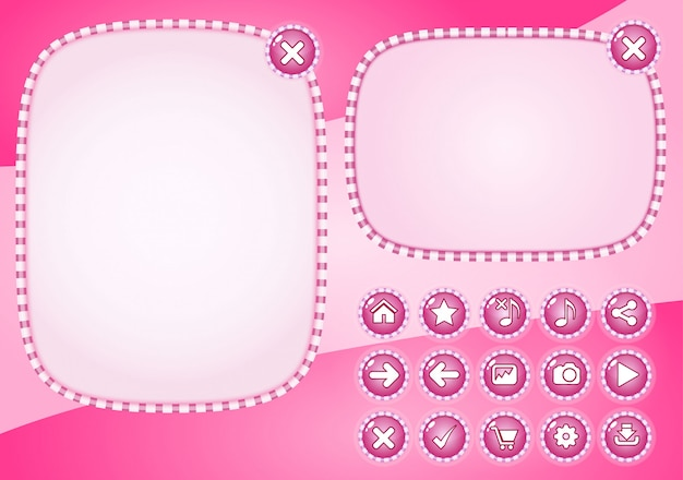 Popup-stijl snoepkleur roze en knop voor games. Premium Vector