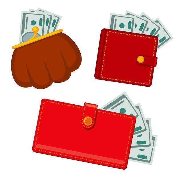 Portefeuille met geld, groene dollars. winst vector plat pictogrammen Premium Vector