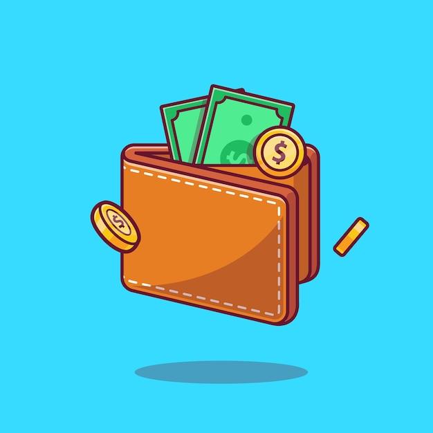 Portemonnee en geld cartoon Gratis Vector