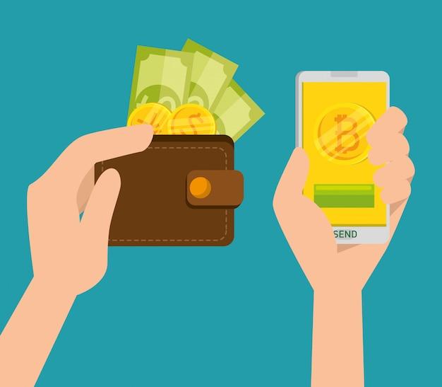 Portemonnee met munten en biljetten en mobiele telefoon met handen, bitcoin Gratis Vector