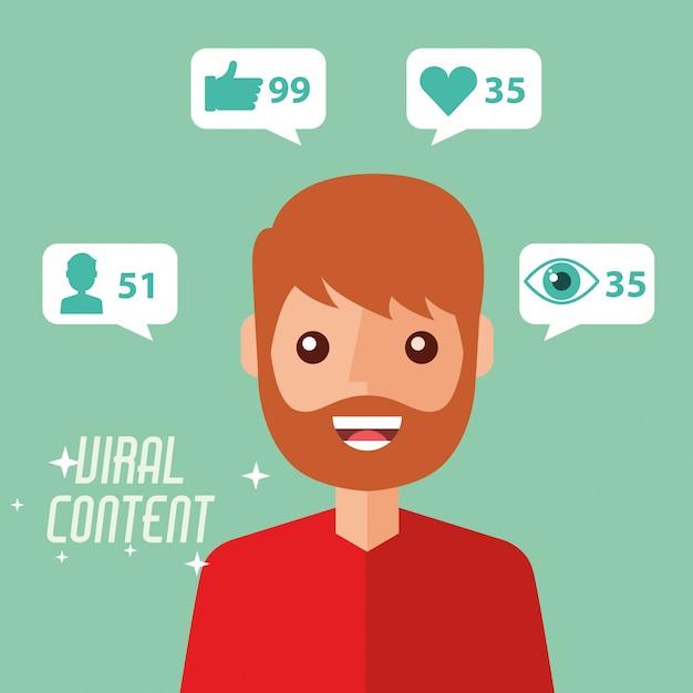 Portret man virale inhoud internet Premium Vector