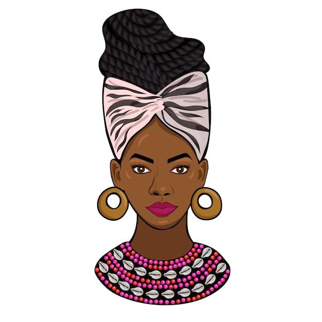 Portret van een afrikaanse geïsoleerde prinses Premium Vector