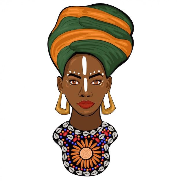 Portret van een afrikaanse prinses geïsoleerd op een witte achtergrond. afbeeldingen Premium Vector