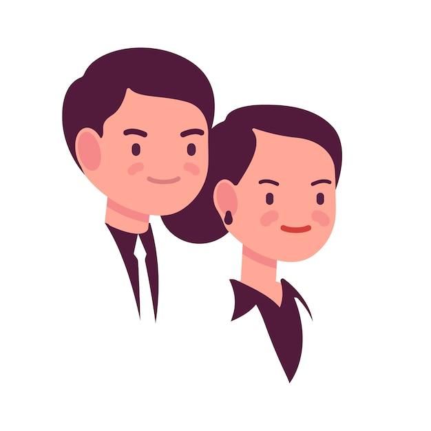 Portret van een man en een vrouw Premium Vector