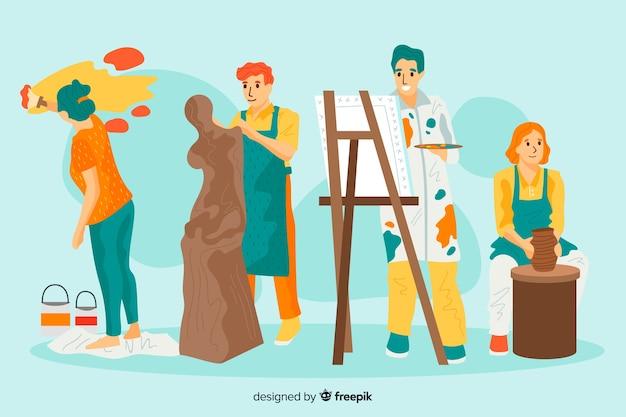 Portret van kunstenaars op het werk Gratis Vector