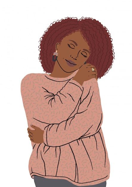 Portret van mooie african american vrouw knuffelen zichzelf. zelf gelukkig en positief, zelfverzekerd glimlachend. houd van jezelf en je lichaam positief, lachend zelfverzekerd. neem de tijd voor jezelf. Premium Vector
