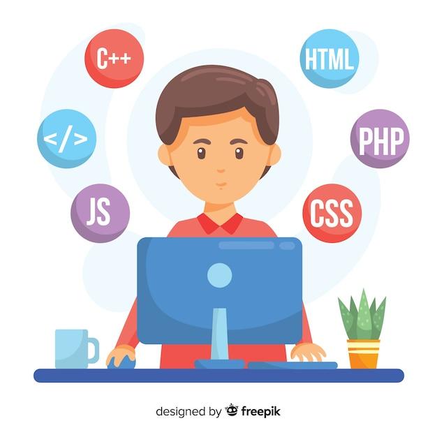 Portret van programmeur die met pc werkt Gratis Vector