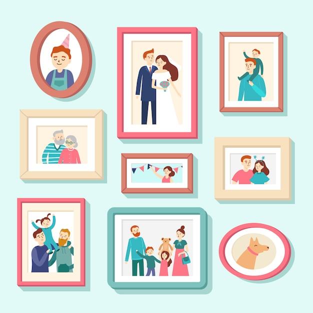 Portretten van familieleden. huwelijksfoto in kader, paarportret. lachende man, vrouw en kinderen foto's in frames vector illustratie Premium Vector
