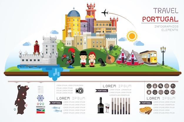Portugal plaatst objecten Premium Vector