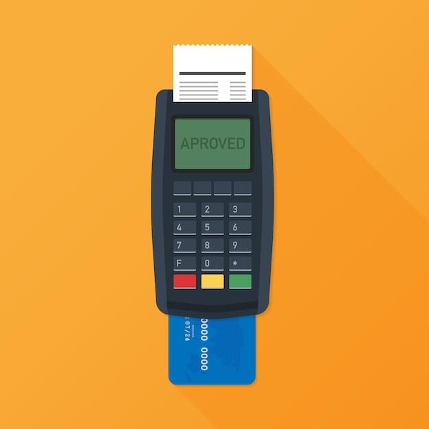 Pos-terminal. betaalterminal met ontvangstbewijs. bank- en zakelijke diensten. vector illustratie Premium Vector
