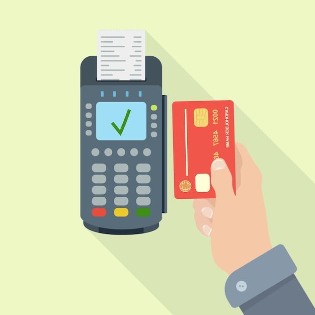 Pos-terminal met bon, rekening. betalen zonder contant geld met creditcard of pinpas. nfc-systeem Premium Vector