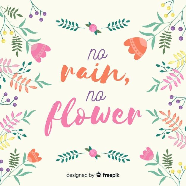 Positief bericht met bloemen Gratis Vector