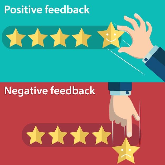 Positieve en negatieve waardering ontwerp Gratis Vector