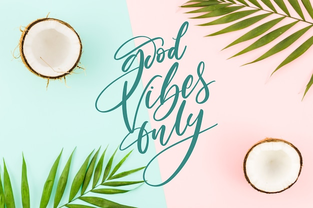 Positieve letters met foto van kokosnoten Gratis Vector