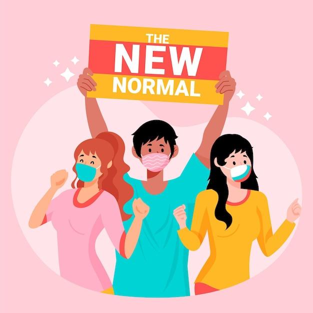 Positieve mensen die voor het nieuwe normaal staan Gratis Vector