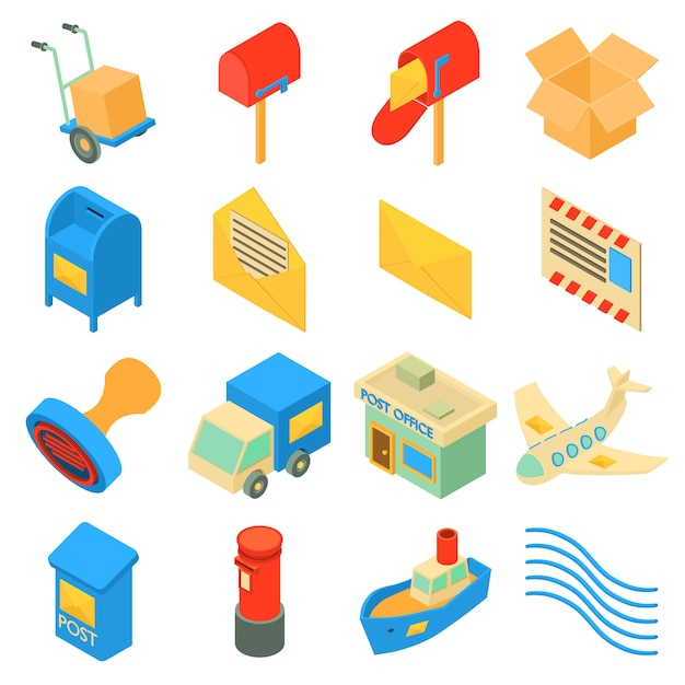 Post dienst pictogrammen instellen. isometrische illustratie van 16 poste dienst pictogrammen instellen vector iconen voor web Premium Vector