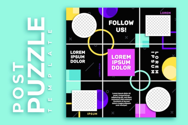 Post instagram puzzel feed-sjabloon Premium Vector