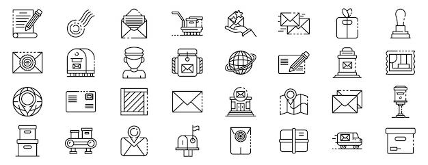 Postbode geplaatste pictogrammen, schetst stijl Premium Vector