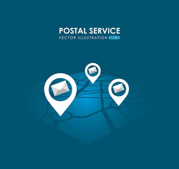 Postdienst ontwerp Gratis Vector