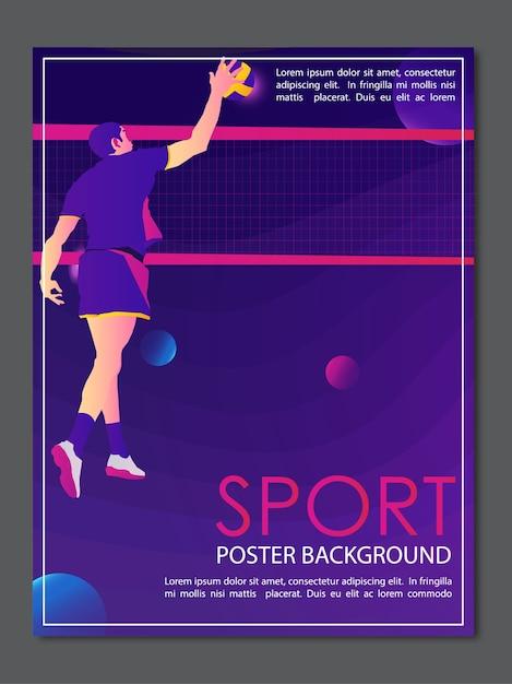 Poster achtergrond sport volleybal creatief modern Premium Vector