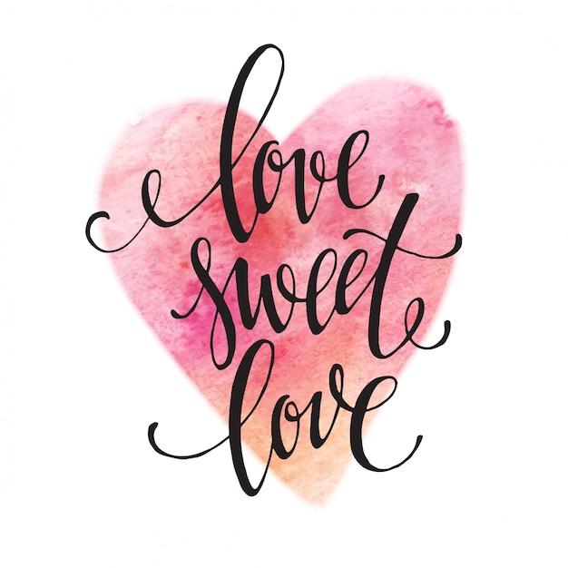 Poster aquarel belettering liefde zoete liefde. vector illustratie Premium Vector