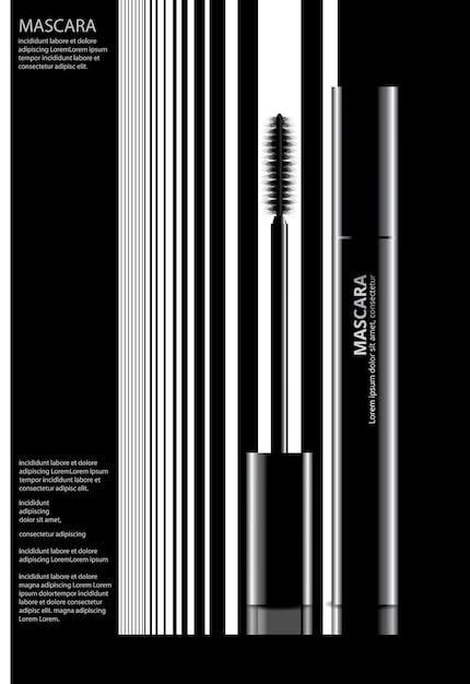 Poster cosmetische mascara met verpakking vectorillustratie Premium Vector
