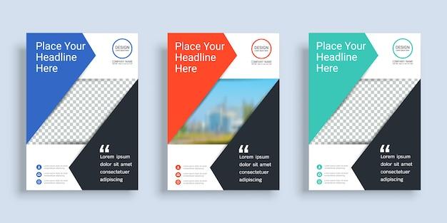 Poster cover boek ontwerpsjabloon met ruimte voor fotoachtergrond. Premium Vector