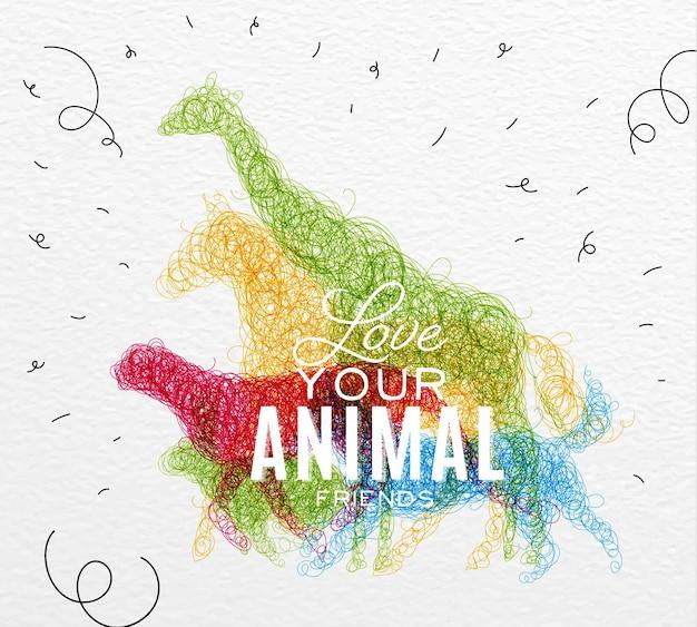 Poster dieren verwarde lijn Premium Vector