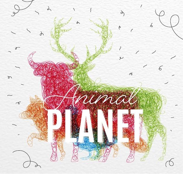 Poster dierlijke planeet verward Premium Vector