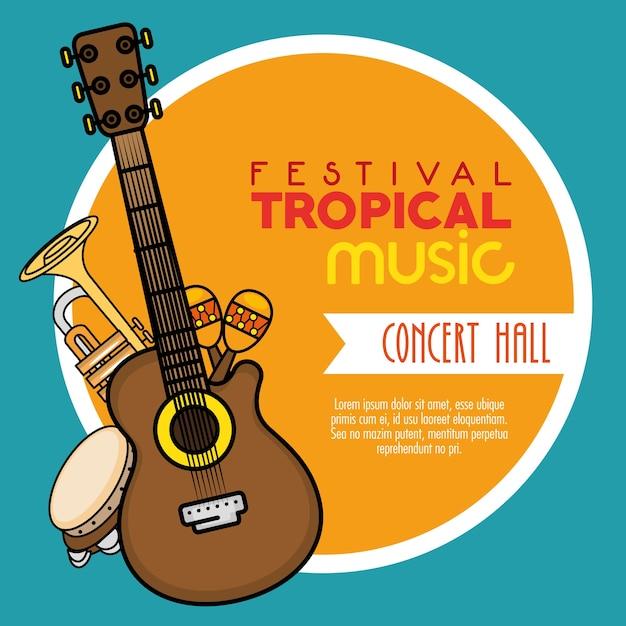 Poster festival tropische muziek Premium Vector