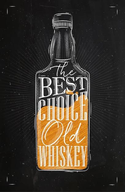 Poster fles whisky belettering de beste keuze oude whisky Premium Vector