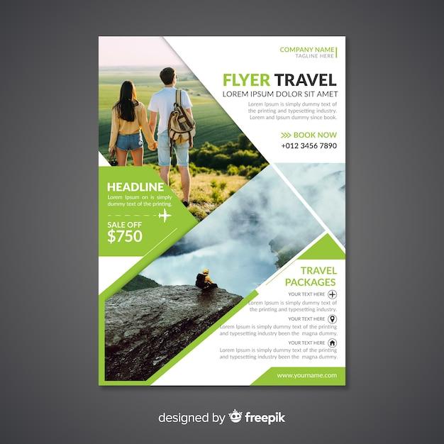 Poster / folder sjabloon met foto reizen Gratis Vector