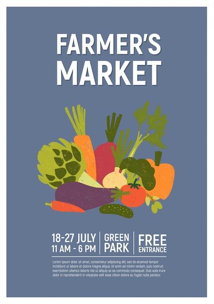 Poster illustratie voor boerenmarkt, oogstfeest of verse biologische voedselbeurs versierd met heerlijke rijpe groenten of gewassen. kleurrijke vectorillustratie voor aankondiging van evenementen, promotie. Premium Vector