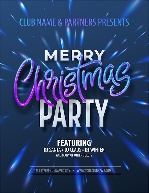 Poster merry christmas party met holografische inscriptie op christmas fong met iriserende reflecties. Premium Vector
