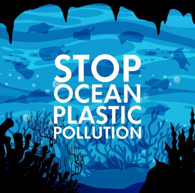 Poster met afval onder de oceaan Gratis Vector