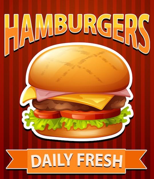 Poster met cheeseburgers Gratis Vector