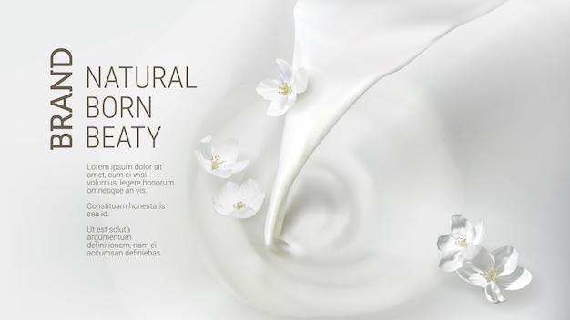 Poster met gietende melk, vallende jasmijnbloem Gratis Vector