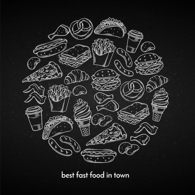 Poster met hand getrokken fastfood Premium Vector