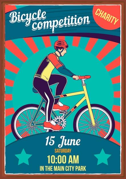 Poster met illustratie van fietsen Gratis Vector