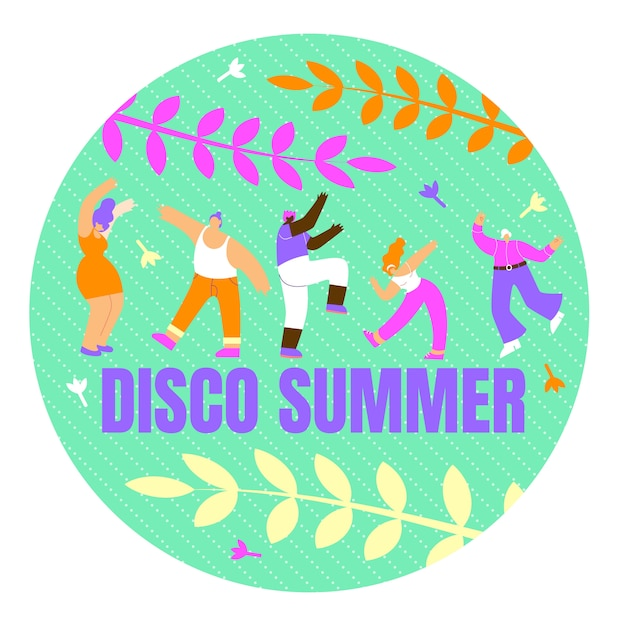 Poster met inscriptie disco zomer Gratis Vector