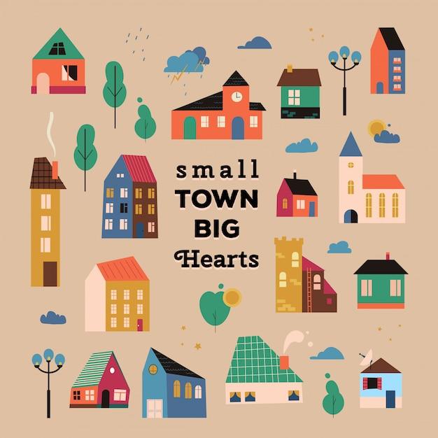 Poster met kleine huisjes, straten met gebouwen, bomen en wolken. inspirerende quote poster kleine stad grote harten met geometrische huizen, illustratie van een schattige stad. Premium Vector