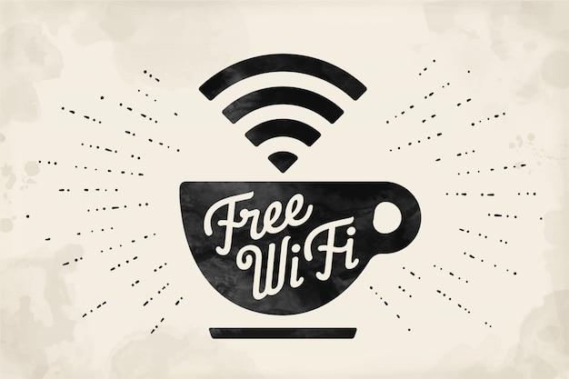Poster met kopje koffie en tekst gratis wifi Premium Vector